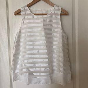 White Striped Chiffon Top NWOT